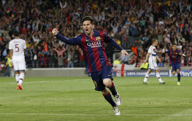 Football - FC Barcelona v Bayern Munich - UEFA Champions League Semi Final First Leg - The Nou Camp, Barcelona, Spain - 6/5/15 Barcelona's Lionel Messi celebrates scoring their first goal Reuters / Gustau Nacarino
