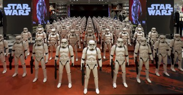 "Models of First Order's Stormtrooper Battle Buddy from the film ""Star Wars - The Force Awakens"" are displayed in a shop in Shanghai, China, January 19, 2016. REUTERS/Stringer ATTENTION EDITORS - THIS PICTURE WAS PROVIDED BY A THIRD PARTY. THIS PICTURE IS DISTRIBUTED EXACTLY AS RECEIVED BY REUTERS, AS A SERVICE TO CLIENTS. CHINA OUT. NO COMMERCIAL OR EDITORIAL SALES IN CHINA."