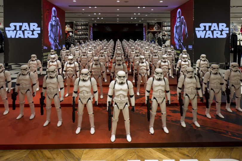 """Models of First Order's Stormtrooper Battle Buddy from the film """"Star Wars - The Force Awakens"""" are displayed in a shop in Shanghai, China, January 19, 2016. REUTERS/Stringer ATTENTION EDITORS - THIS PICTURE WAS PROVIDED BY A THIRD PARTY. THIS PICTURE IS DISTRIBUTED EXACTLY AS RECEIVED BY REUTERS, AS A SERVICE TO CLIENTS. CHINA OUT. NO COMMERCIAL OR EDITORIAL SALES IN CHINA."""