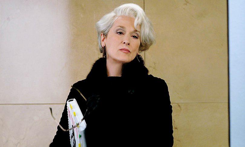 Meryl Streep in The Devil Wears Prada, showing that grey hair never gets old.